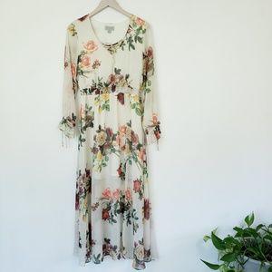 Belle + Sky Floral Lace Up Maxi Dress